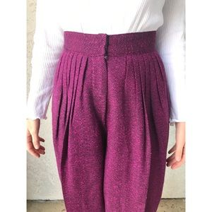 [vintage] ultra high waist pleated pink trousers